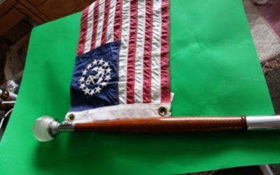 Chris Craft. Dodge Boat Stern Flag Pole with Halophane Globe